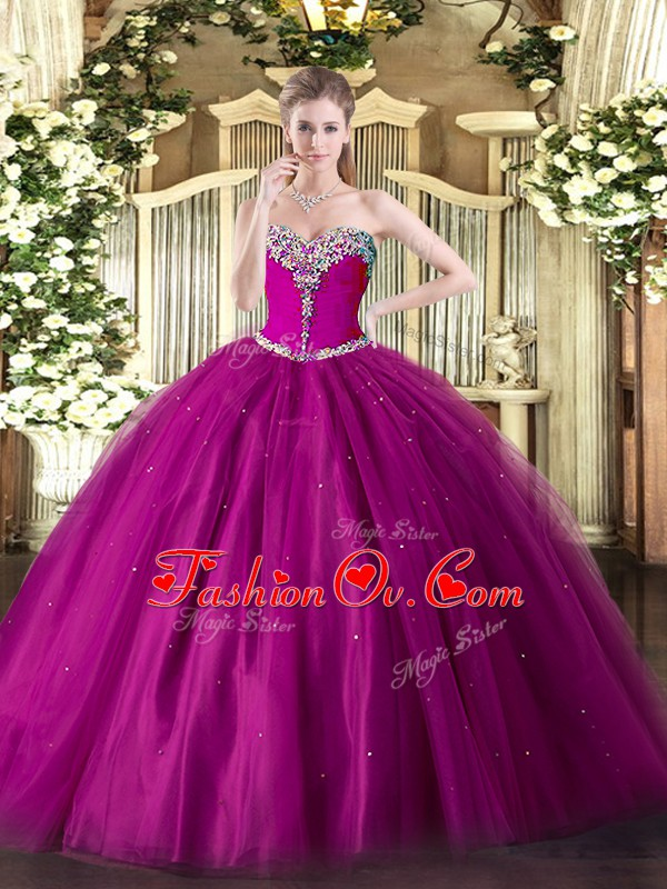 Smart Beading Quinceanera Dresses Fuchsia Lace Up Sleeveless Floor Length