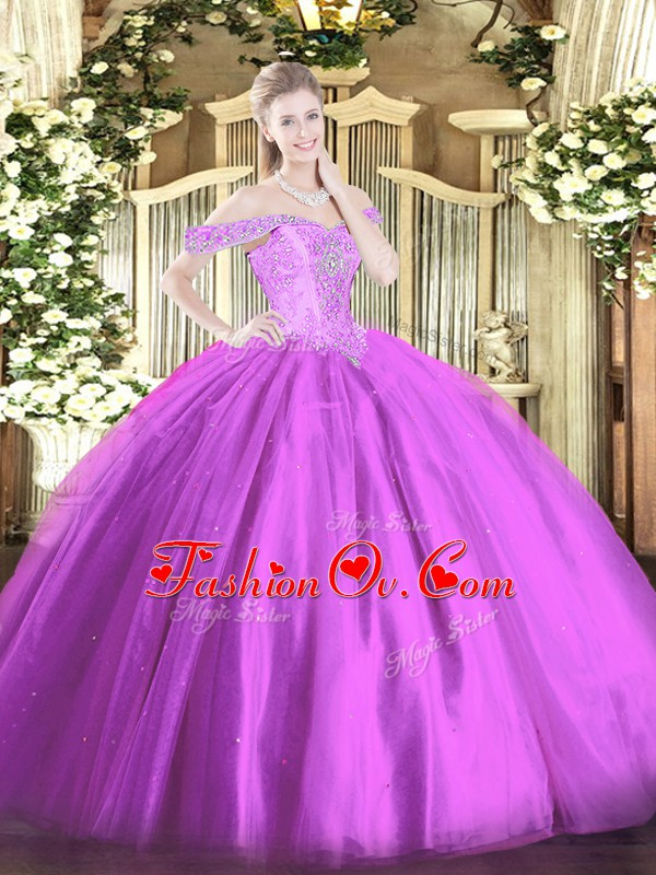 Beading 15 Quinceanera Dress Lilac Lace Up Sleeveless Floor Length