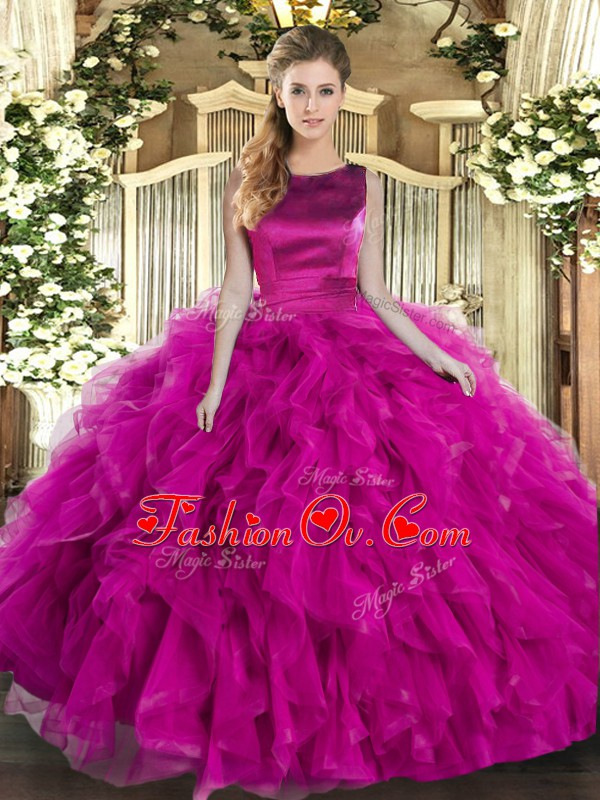 Sophisticated Sleeveless Floor Length Ruffles Lace Up Quinceanera Gown with Fuchsia