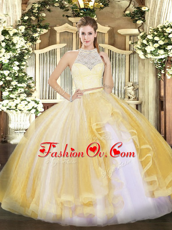 Gold Two Pieces Lace and Ruffles Sweet 16 Quinceanera Dress Zipper Tulle Sleeveless Floor Length