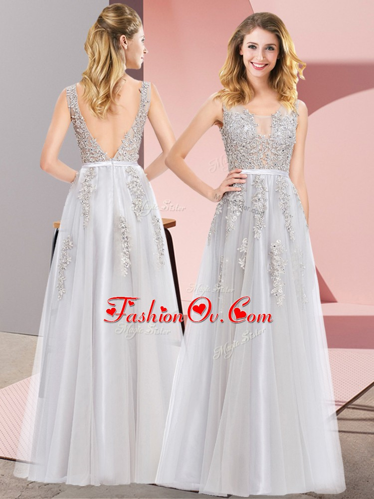 Custom Fit Sleeveless Backless Floor Length Lace and Appliques Prom Party Dress