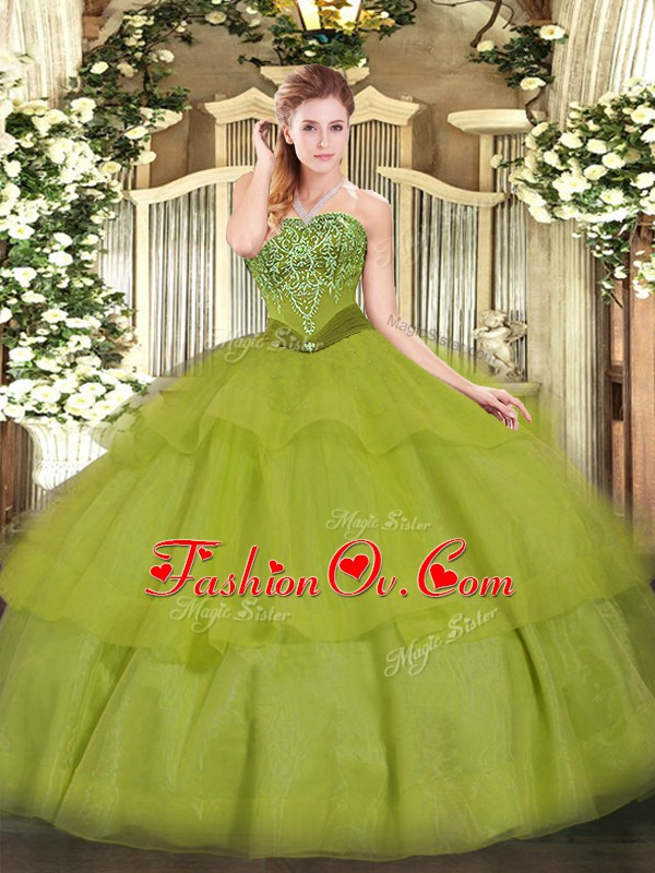 Cheap Olive Green Sweet 16 Dresses Military Ball and Sweet 16 and Quinceanera with Beading and Ruffled Layers Strapless Sleeveless Lace Up
