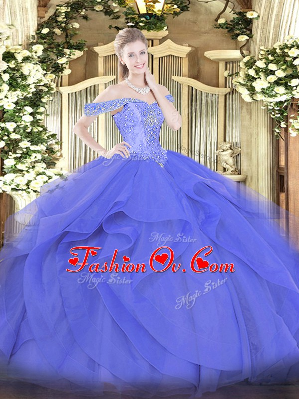 Sleeveless Tulle Floor Length Lace Up Ball Gown Prom Dress in Blue with Beading and Ruffles