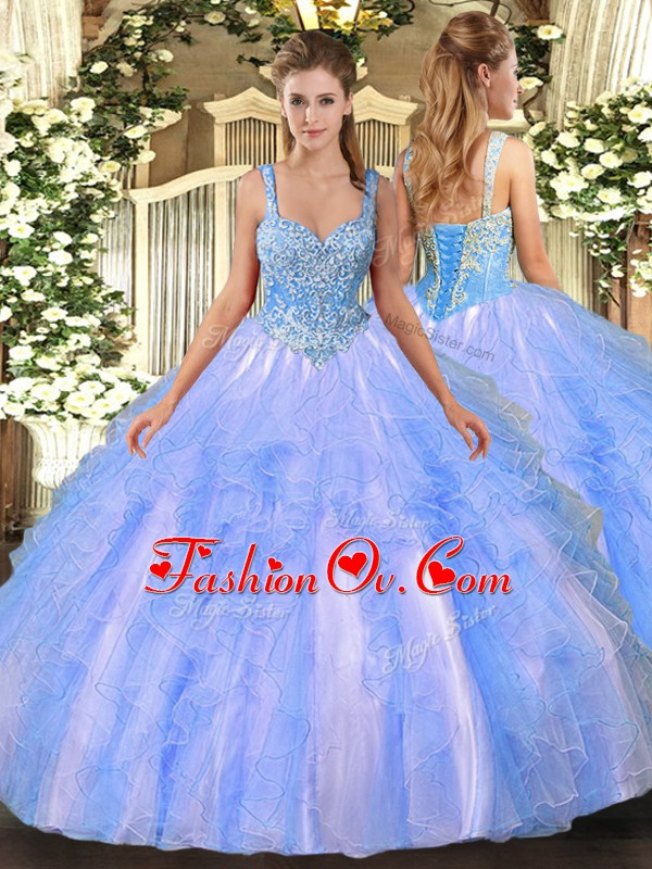 Glittering Straps Sleeveless Lace Up Sweet 16 Dress Light Blue Tulle