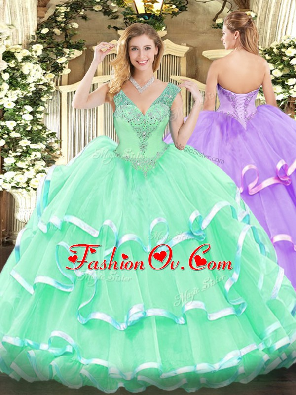 Apple Green Organza Lace Up Sweet 16 Dress Sleeveless Floor Length Beading