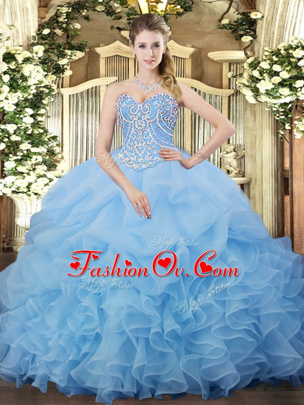 Aqua Blue Ball Gowns Sweetheart Sleeveless Organza Floor Length Lace Up Beading and Ruffles and Pick Ups Quince Ball Gowns
