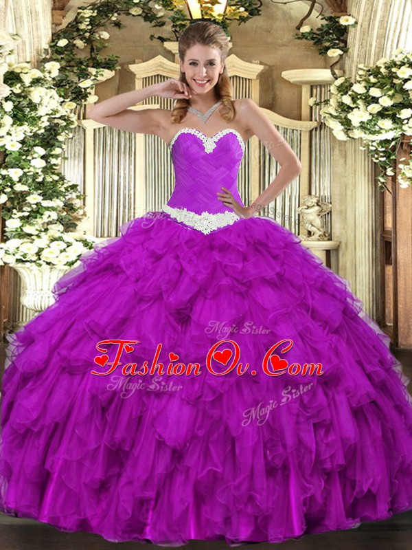 Latest Purple Ball Gowns Sweetheart Sleeveless Organza Floor Length Lace Up Appliques and Ruffles Quinceanera Dress