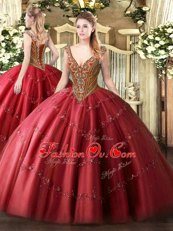 Floor Length Ball Gowns Sleeveless Red Quinceanera Dress Lace Up
