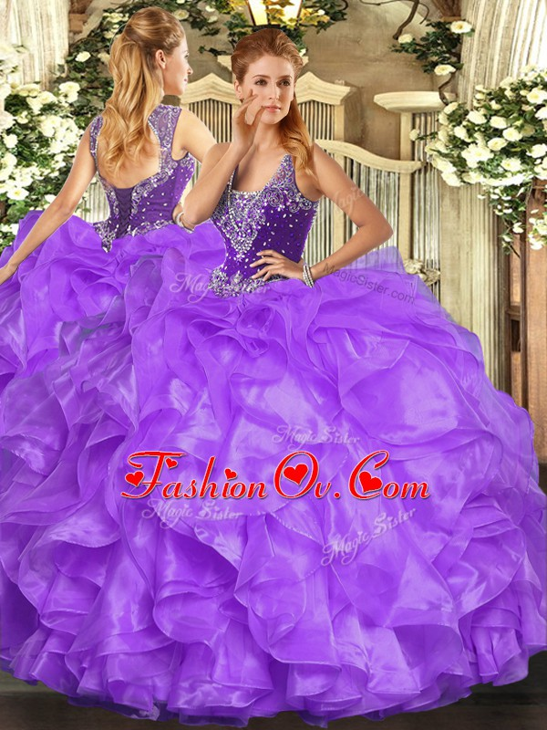 Customized Beading and Ruffles Quinceanera Dresses Lavender Lace Up Sleeveless Floor Length