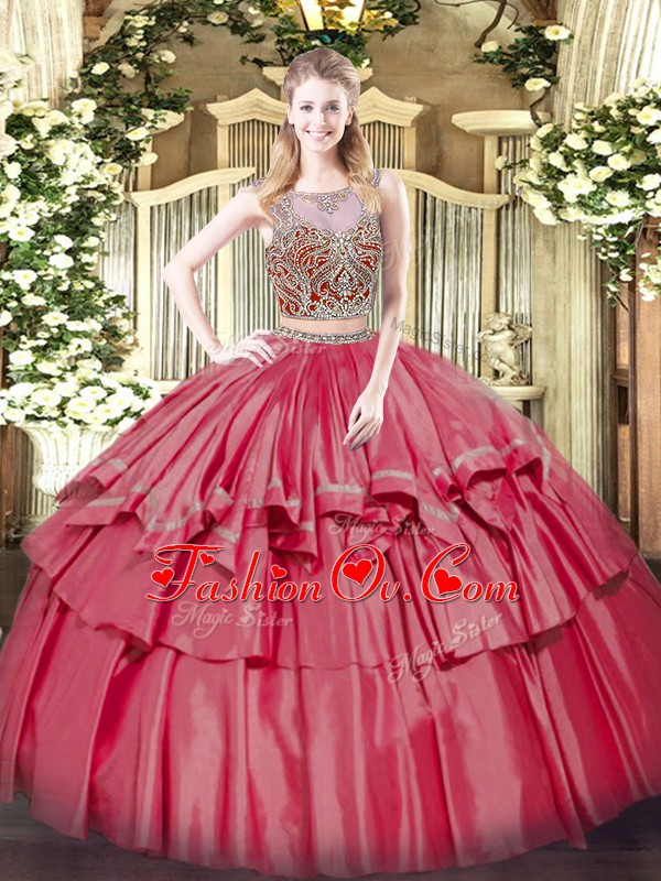 Coral Red Sleeveless Beading and Ruffled Layers Floor Length Quinceanera Gowns