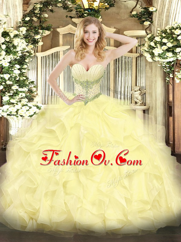 Ideal Sleeveless Organza Floor Length Lace Up Quince Ball Gowns in Yellow with Beading and Ruffles
