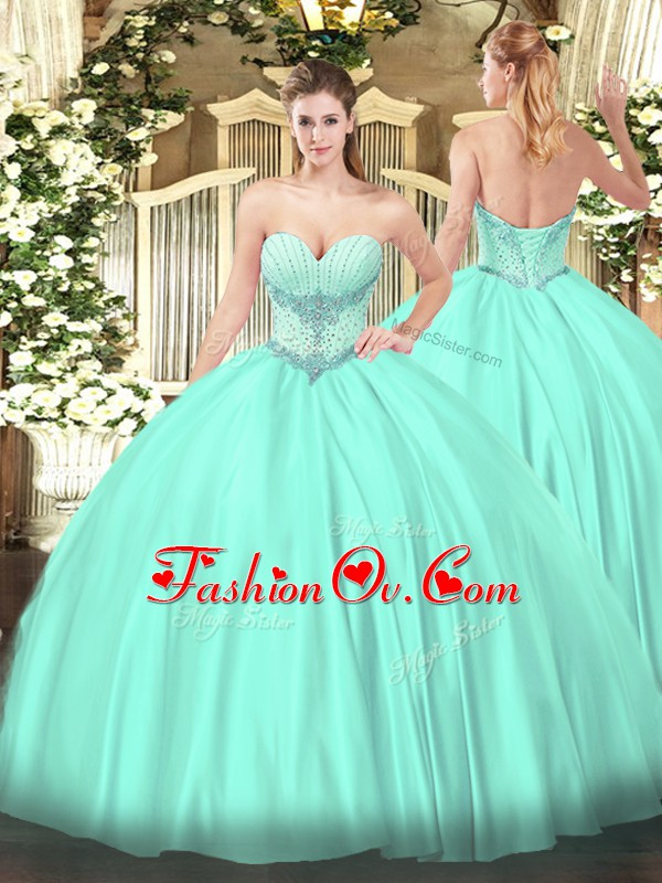 On Sale Satin Sleeveless Floor Length Sweet 16 Dresses and Beading