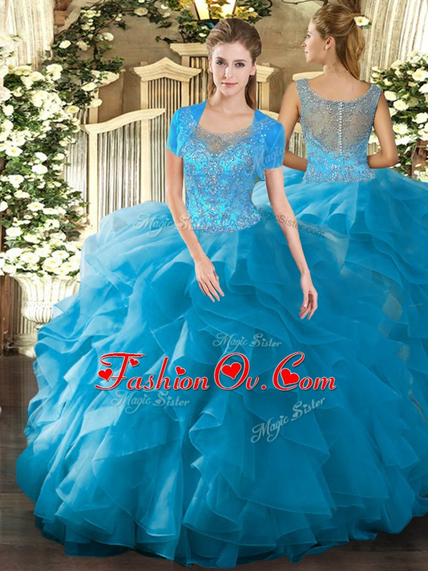 Admirable Teal Ball Gowns Beading and Ruffled Layers Quinceanera Dresses Clasp Handle Tulle Sleeveless Floor Length
