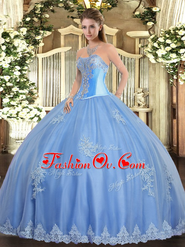 Sophisticated Sweetheart Sleeveless 15 Quinceanera Dress Floor Length Beading and Appliques Baby Blue Tulle
