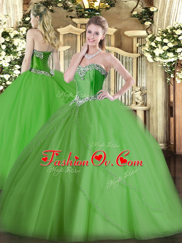 Ball Gowns Sleeveless Green Sweet 16 Dresses Brush Train Lace Up