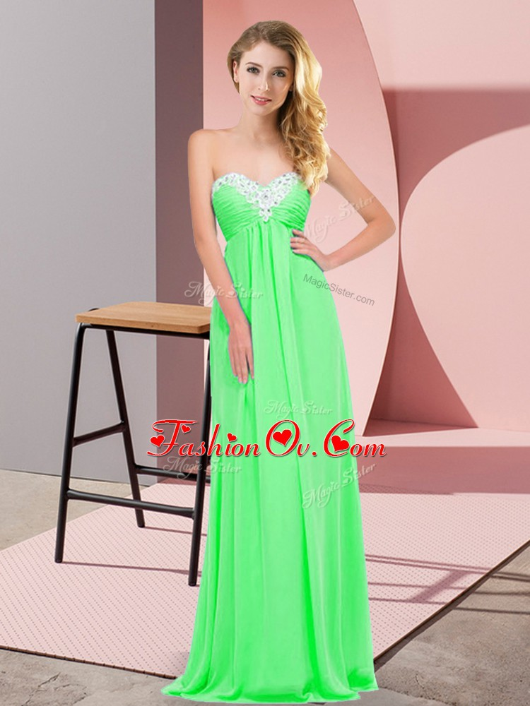 Discount Sweetheart Sleeveless Lace Up Prom Evening Gown Apple Green Chiffon