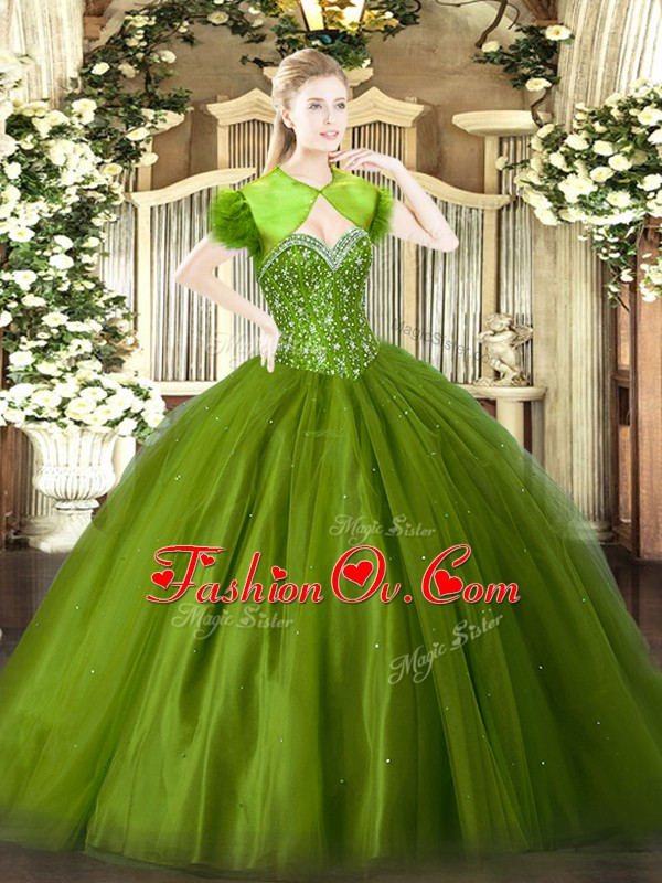 Custom Fit Olive Green Sleeveless Floor Length Beading Lace Up Quinceanera Dresses