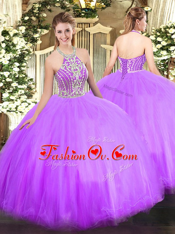 Superior Lilac Sleeveless Floor Length Beading Lace Up Quince Ball Gowns