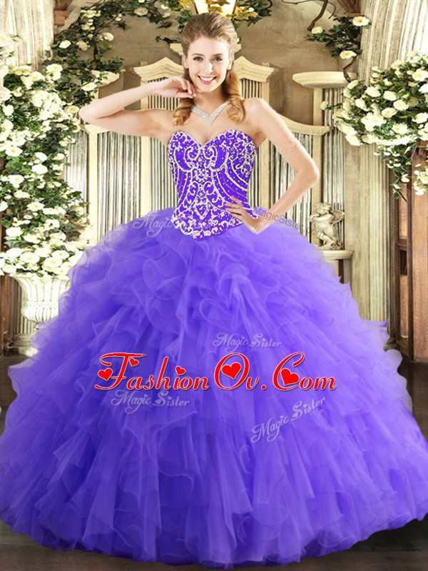 Lavender Sleeveless Beading and Ruffles Floor Length Quinceanera Gown