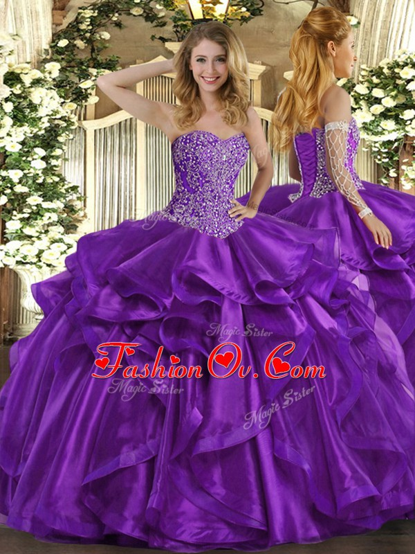 Adorable Purple Ball Gowns Organza Sweetheart Sleeveless Beading and Ruffles Floor Length Lace Up Sweet 16 Dresses