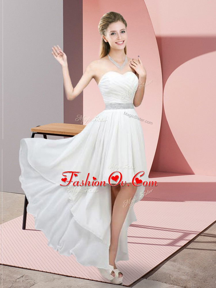 Discount Sweetheart Sleeveless High Low Beading White Chiffon