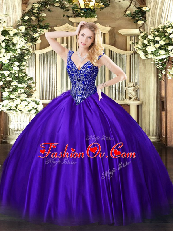 Purple Satin Lace Up 15th Birthday Dress Sleeveless Floor Length Beading