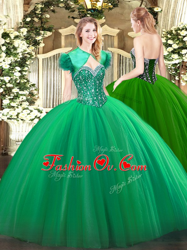 Customized Tulle Sleeveless Floor Length Quinceanera Dresses and Beading