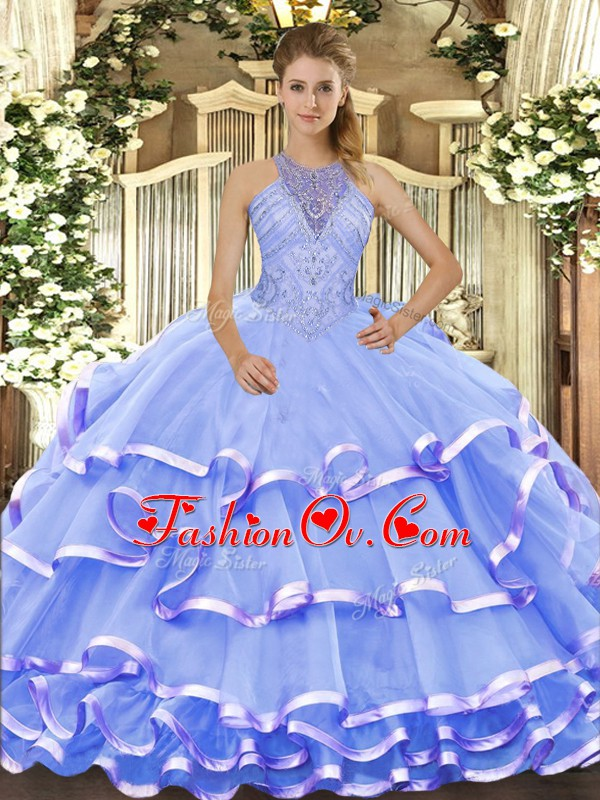 Blue Lace Up Vestidos de Quinceanera Beading and Ruffled Layers Sleeveless Floor Length