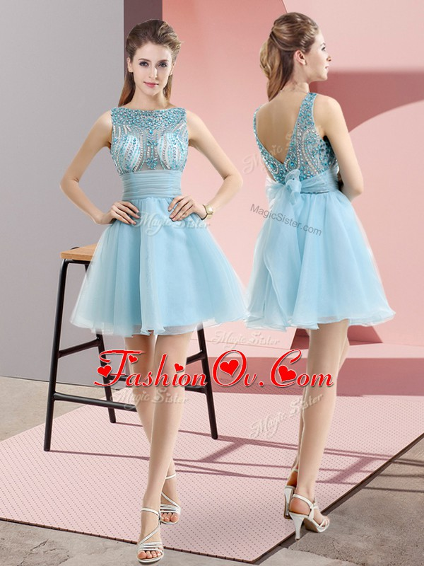 Latest Aqua Blue Sleeveless Beading and Belt Mini Length Prom Gown