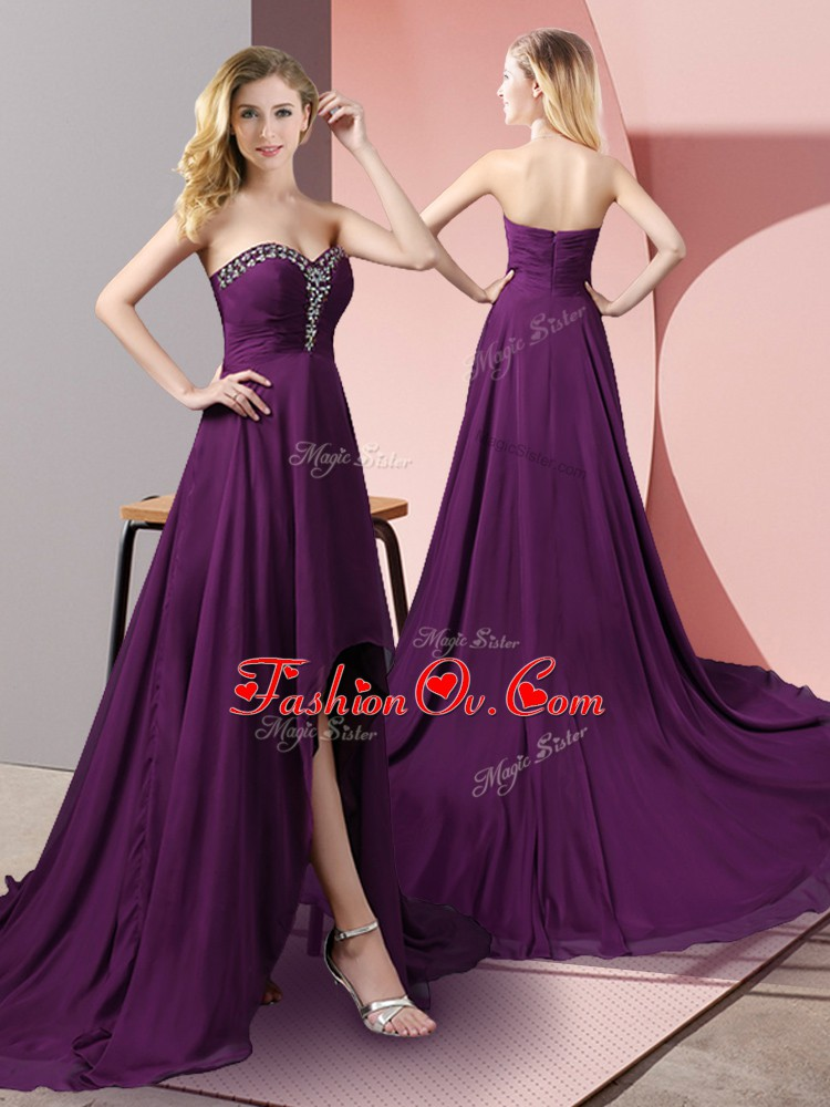 Cheap Purple Sweetheart Neckline Beading Prom Dresses Sleeveless Zipper
