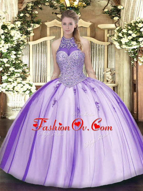 Decent Sleeveless Tulle Floor Length Lace Up Quinceanera Dress in Lavender with Beading and Appliques