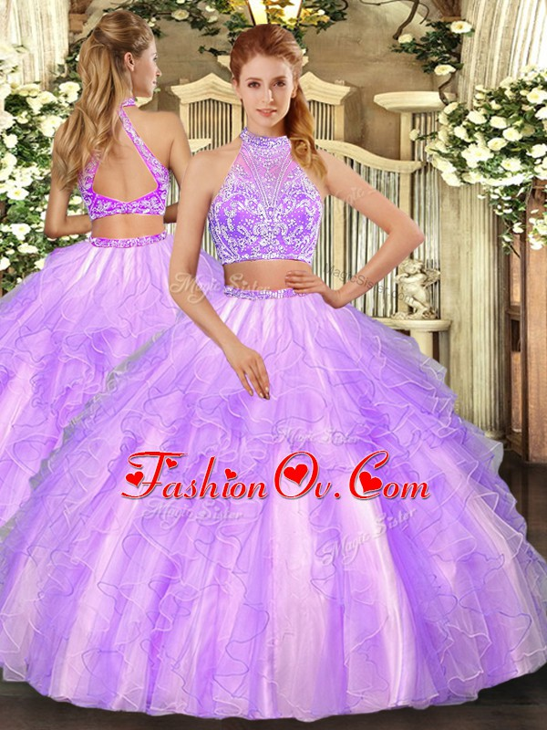 Hot Sale Lavender Criss Cross 15th Birthday Dress Beading and Ruffled Layers Sleeveless Floor Length