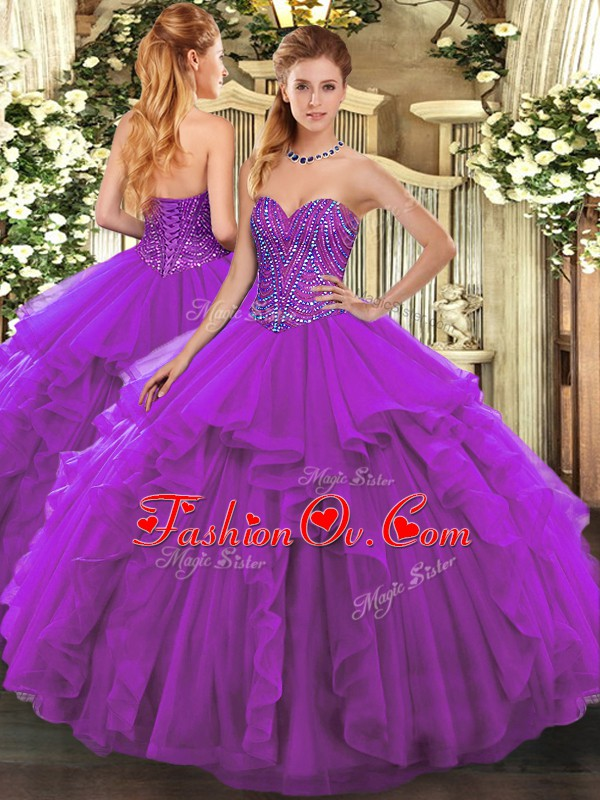 Artistic Eggplant Purple Sweetheart Neckline Beading and Ruffles Sweet 16 Dresses Sleeveless Lace Up