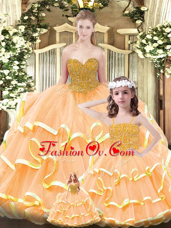 Customized Beading and Ruffled Layers 15th Birthday Dress Orange Lace Up Sleeveless Floor Length