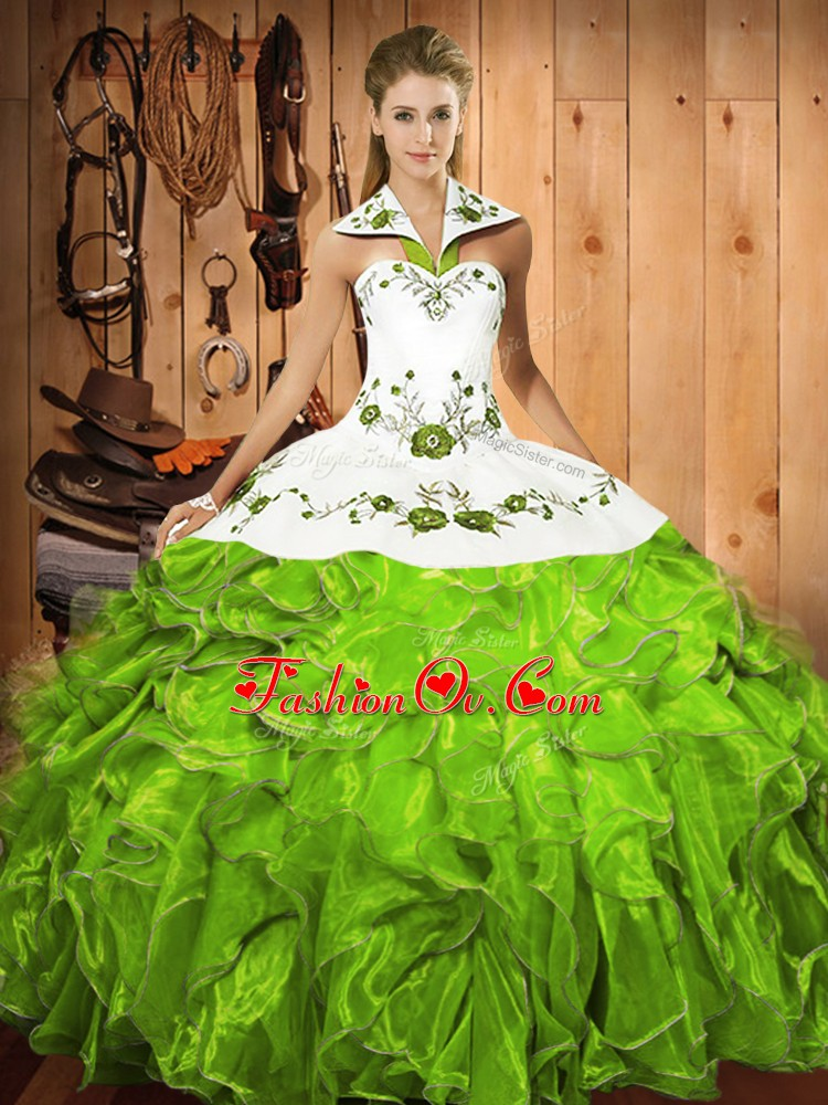 Sophisticated Satin and Organza Lace Up Halter Top Sleeveless Floor Length Quinceanera Dress Embroidery and Ruffles