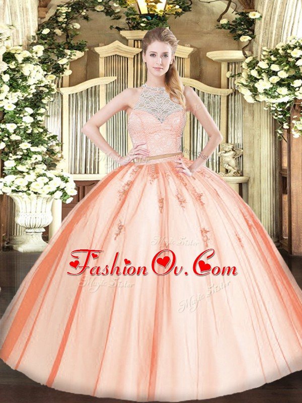 Orange Sleeveless Floor Length Lace and Appliques Zipper Quinceanera Gowns
