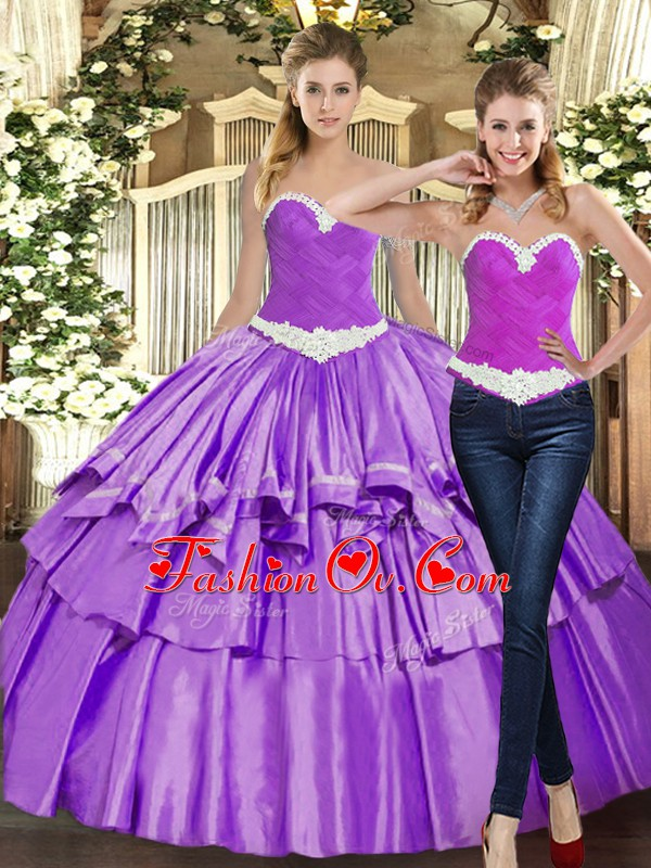 Sleeveless Floor Length Appliques and Ruffles Lace Up Ball Gown Prom Dress with Eggplant Purple