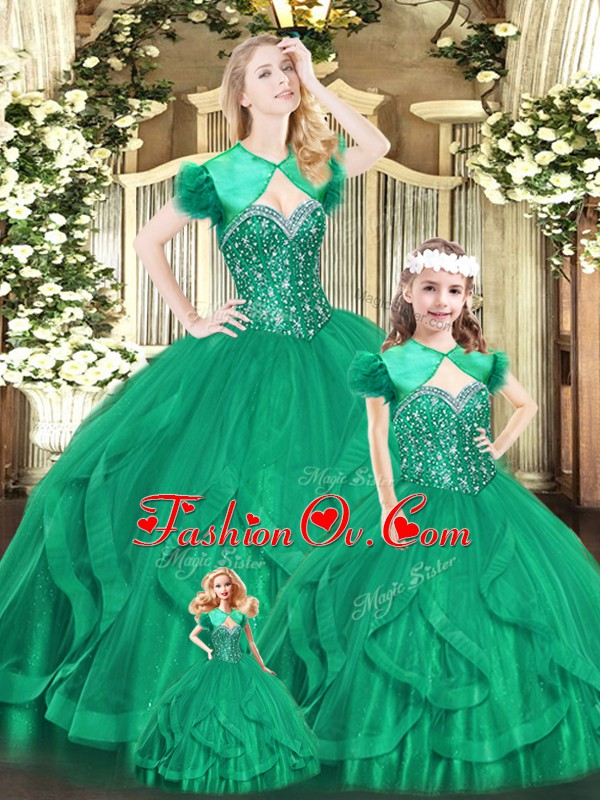 Stunning Turquoise Organza Lace Up Sweetheart Sleeveless Floor Length 15th Birthday Dress Beading and Ruffles