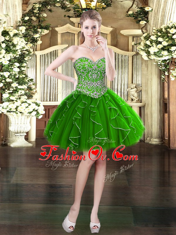 Dark Green Lace Up Sweetheart Beading and Ruffles Evening Dress Organza Sleeveless