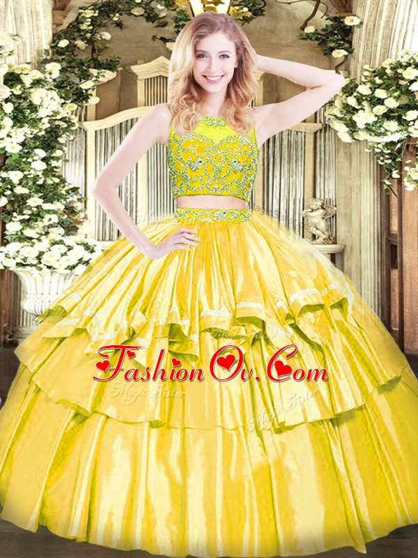 Adorable Yellow Two Pieces Beading and Ruffled Layers Quince Ball Gowns Zipper Tulle Sleeveless Floor Length