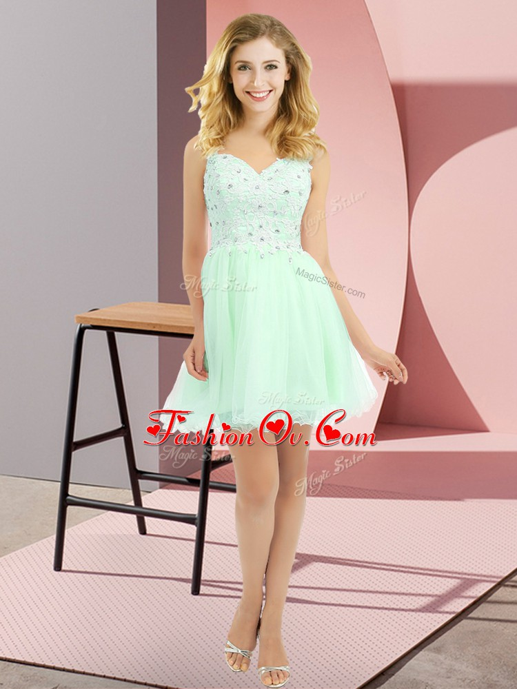 Apple Green Sleeveless Tulle Side Zipper Quinceanera Court Dresses for Prom and Party and Wedding Party