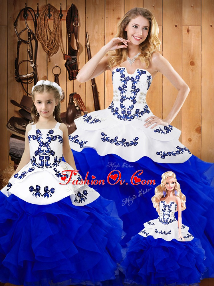 Custom Made Royal Blue Sleeveless Tulle Lace Up 15 Quinceanera Dress for Military Ball and Sweet 16 and Quinceanera