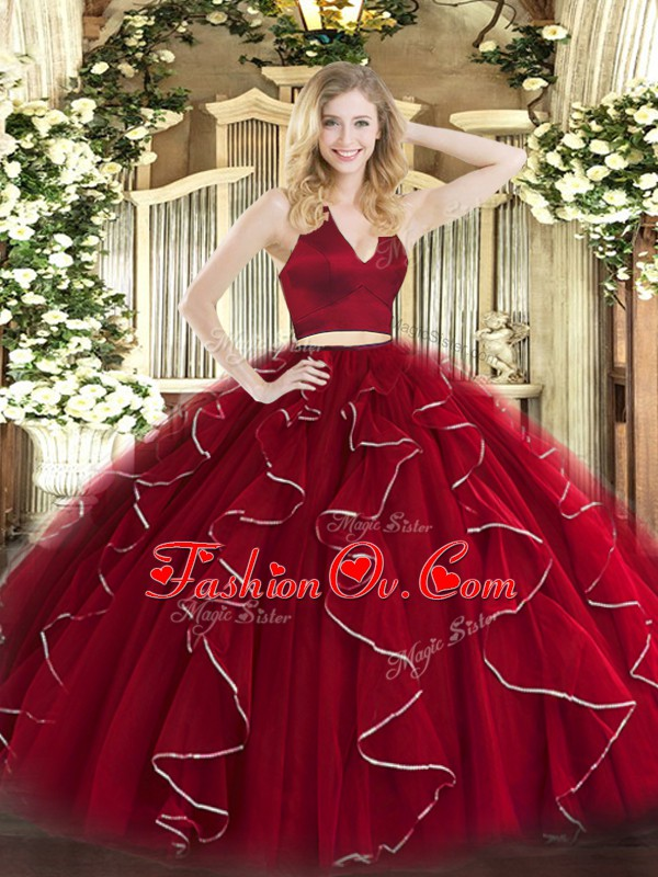 Fabulous Wine Red 15th Birthday Dress Military Ball and Sweet 16 and Quinceanera with Ruffles Halter Top Sleeveless Zipper