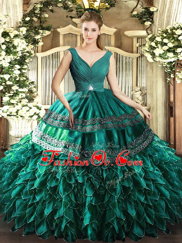Perfect Turquoise V-neck Backless Beading and Ruffles Sweet 16 Dress Sleeveless