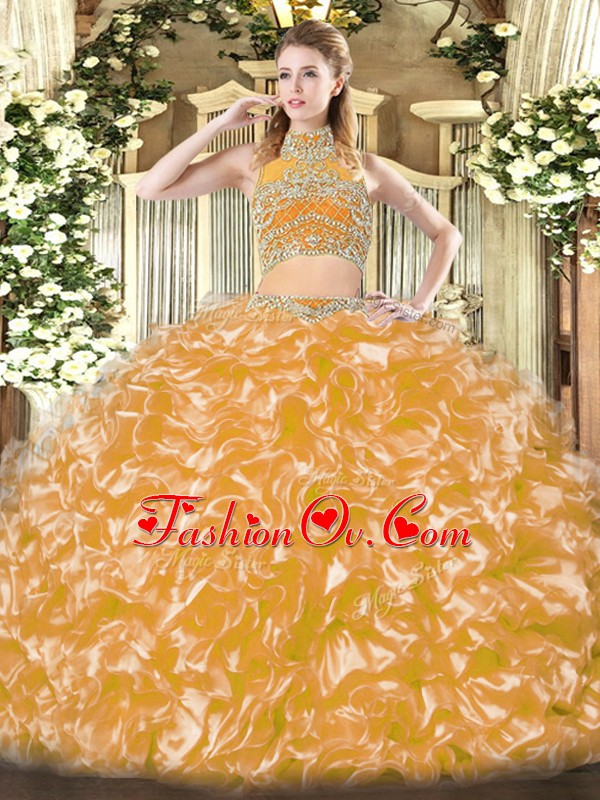 Superior Tulle High-neck Sleeveless Backless Beading and Ruffles Quinceanera Dress in Gold