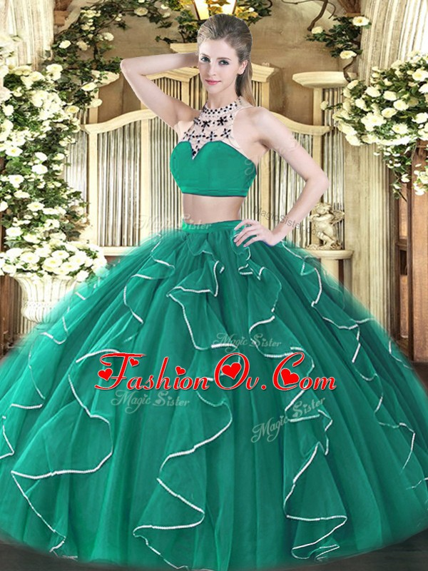 Floor Length Turquoise Quinceanera Dresses High-neck Sleeveless Backless