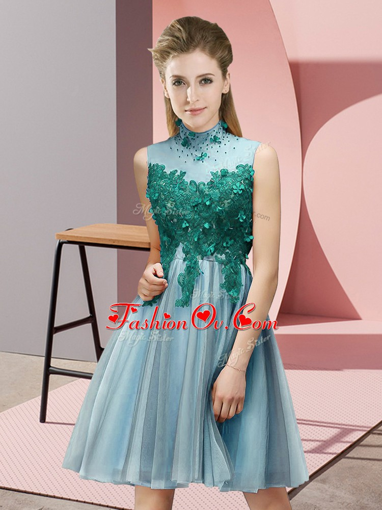 Aqua Blue Lace Up High-neck Appliques Quinceanera Court Dresses Tulle Sleeveless