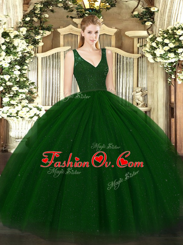 Unique Green Sleeveless Tulle and Sequined Zipper Vestidos de Quinceanera for Sweet 16 and Quinceanera