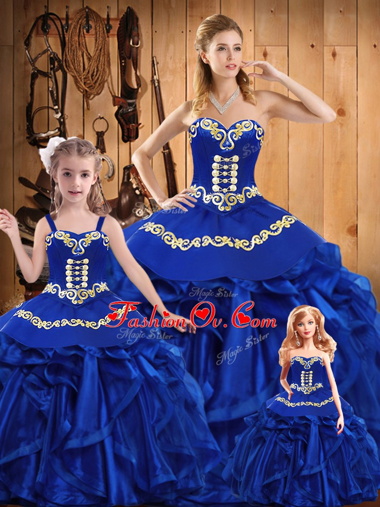 Free and Easy Royal Blue Sweetheart Neckline Embroidery and Ruffles Quinceanera Gown Sleeveless Lace Up