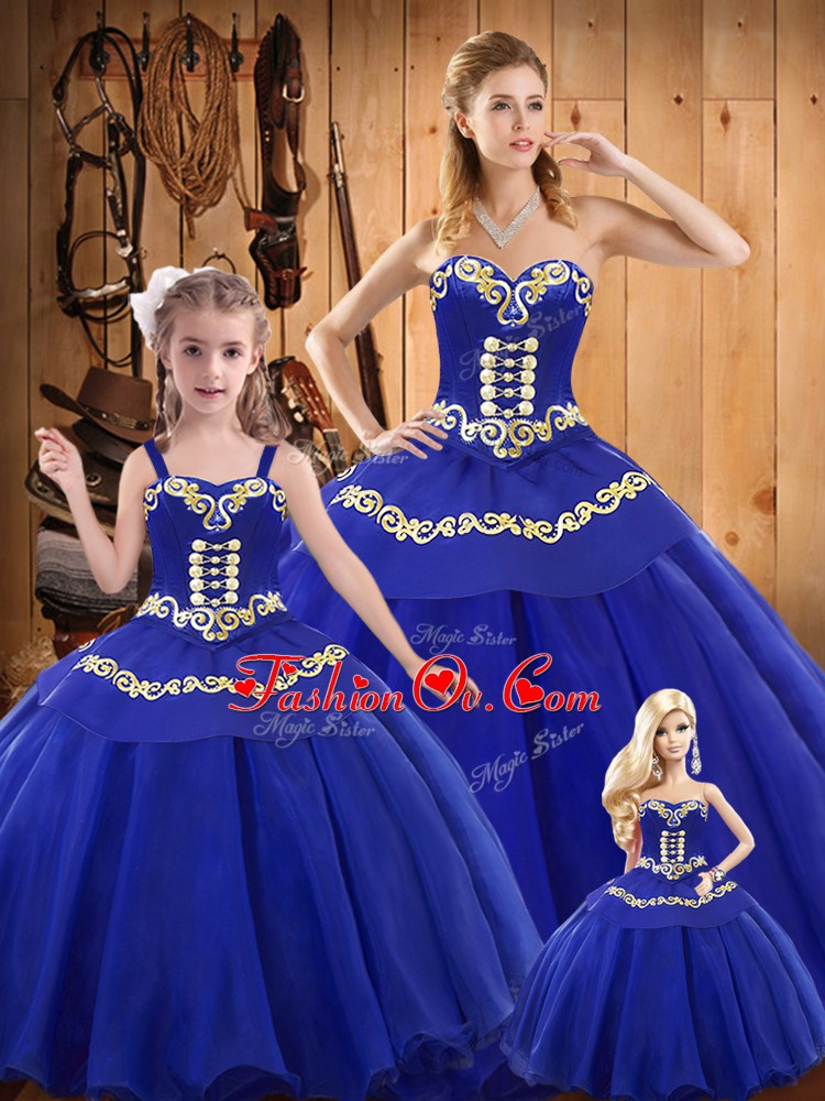 Custom Made Sleeveless Tulle Floor Length Lace Up Quinceanera Dresses in Blue with Embroidery